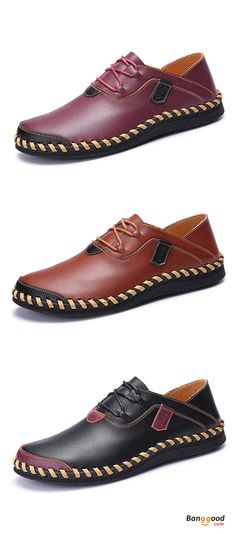 US$41.81+Free shipping. Men Shoes, Casual Oxfords, Genuine Leather, Lace Up, Hand Stitching, Large Size. Color: Black, Brown, Wine Red. Shop now~