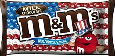 M & M's Red White & Blue Milk Chocolate Candies ‑ oz bag Exp. M & M Chocolate, Famous Chocolate, Chocolate Coating, Chocolate Treats, American Themed Party, Candy Drinks, Blue Candy, Colorful Candy, Favorite Candy