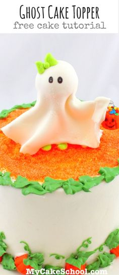 Free Ghost Topper Cake Tutorial by MyCakeSchool.com! PERFECT for Halloween parties and so easy to make! #caketopper #halloweenparty #ghostcake #cakedecorating #halloweencake #caketutorial