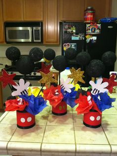 Mickey mouse center pieces for birthday! Mickey 1st Birthdays, Fiesta Mickey Mouse, Mickey Mouse Baby Shower, Mickey Mouse Clubhouse Birthday Party, Mickey Mouse Parties, Mickey Birthday, Mickey Party, Birthday Ideas, 2nd Birthday