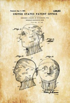 Surgical Mask Patent   Decor Doctor Office Decor Nurse Gift Medical Art  Medical Decor Patent Print