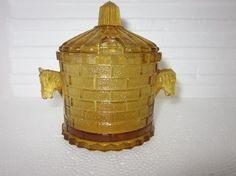 EAPG 1891 Adams No. 5 horseradish/mustard/ jelly jar Horse Handles original lid