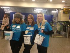 Students take part in a collection at a tube station, fundraising for their Challenge Events and Big Builds