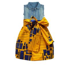 Mommy and Me Outfits- African Print Full Skirt for Little Girls (Yellow/Blue) – D'IYANU