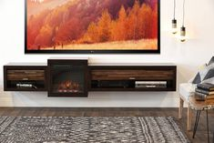 Floating Fireplace Wall Mount TV Stand - ECO GEO Espresso - Woodwaves Floating Fireplace, Fireplace Wall, Floating Tv Stand, Floating Wall, Tv Stand Inspiration, Wall Mounted Tv Unit, Wall Mount Tv Stand, Swivel Tv Stand, Electric Fireplace Tv Stand