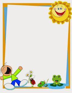 Caratula para cuadernos de niños de kinder - Niño feliz con mariquita y sapo