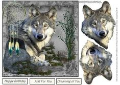 Wolf Dreams Card Topper with Decoupage on Craftsuprint designed by Barbara Hiebert - This is a scenic card topper with a wolf and a dream catcher the wolf head is the decoupage layers and please be careful one is just a bit different than the other. The sentiment tags say,Happy BirthdayJust For YouDreaming of You - Now available for download!