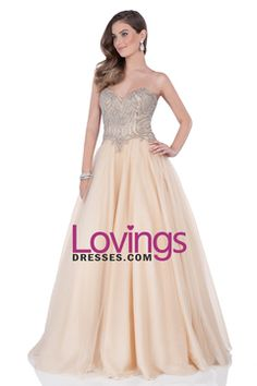 2016 Sweetheart Ball Gown Floor Length Prom Dresses Tulle With Beading Open Back US$ 209.99 LDPTE14M7J - lovingsdresses.com