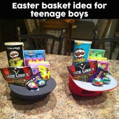 Diy easter basket for him boyfriend husband fiance holiday easter baskets for teenage boys negle Choice Image