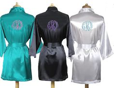 Monogrammed Satin Bridal Party Robes - Bride and Bridesmaid Robes $58.95