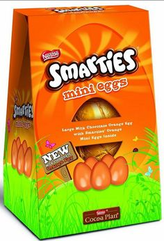 Nestle New Smarties orange eggs will be out in the UK next year! The product features a large orange chocolate egg with mini Smarties orange chocolate eggs inside.