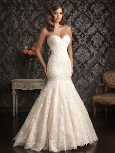 Exquisite beauty will be yours as you wed in the sweet Allure Bridals 9018 with its strapless neckline and mermaid skirt. The entire torso is done in magnificent lace while the skirt has stunning lace appliques for a wedding ceremony proclaiming your beauty. Dreaming of your special day includes selecting Allure Bridals 9018 with its stunning chapel train and perfect lace. http://madamebridal.com/allure-9018.html http://madamebridal.com/bridal/wedding-gowns/allure-bridals #allurebridals