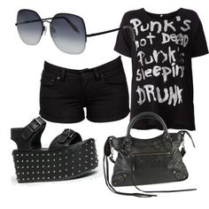 Punk Style by vanda-varelas on Polyvore featuring polyvore fashion style R13 Levi's Y.R.U. Balenciaga Victoria Beckham