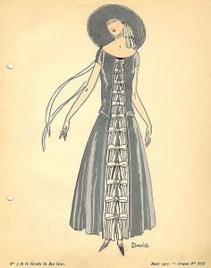 Date: 1922    Description: Blue dress with white bows