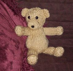This pattern makes small Teddy Bear made using the crocheted Knit Stitch which makes it look as though it were knitted, instead of crocheted. Using size E hook, the finished bear measures about 11 inches tall.