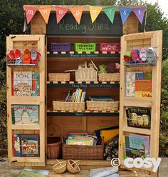 Outdoor storage idea- How to overcome challenges when designing outdoor play spaces Outdoor Education, Outdoor Learning Spaces, Outdoor Play Areas, Eyfs Outdoor Area Ideas, Outdoor Spaces, Outdoor Supplies, Outdoor Activities, Outdoor Living, Eyfs Classroom