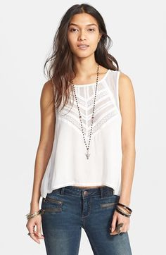 Free People 'Shellshock' Mesh Trim Button Back Top available at #Nordstrom