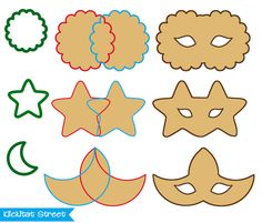 Mask Cookies for Mardi Gras out of standard moon, star and circle cookie cutters
