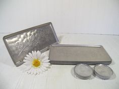 Vintage Hand Forged Aluminum Metal Trays & Matching Coasters - Retro Stamped Embossed Floral Design Silver Color Set of 8 Trays 12 Coasters $38.00 by DivineOrders on Etsy