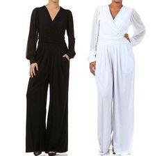 Plus Jumpsuit Long Sleeve Sheer Mesh Chiffon Solid Wide Leg Pants 1X 2X 3X New