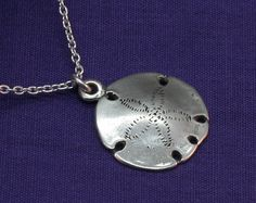 Silver Sand Dollar Necklace, Sterling Silver Sanddollar,Ocean,Sea,Sand,Water,Gifts for her,Under 25 - pinned by pin4etsy.com