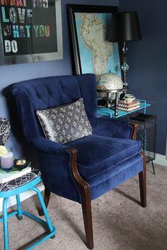 Sapphire Blue Velvet Chair Redo Via Www.FiveElevenDecor.com