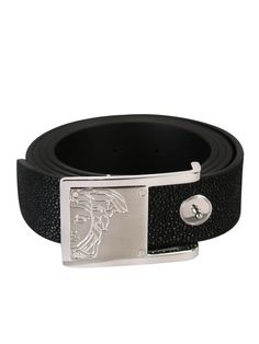 Versace Collection Medusa Belt Black - Medusa textured leather belt from the Versace Collection features a textured black leather belt strap, metal signature versace medusa logo engraved pin buckle and five belt holes by the tapered end.