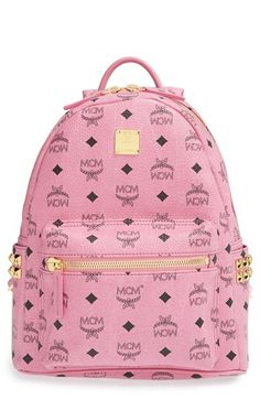 MCM 'Small Stark - Visetos' Studded Logo Print Backpack available at #Nordstrom