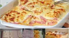 Simple, quick and tasty: Baked toasted bread with ham and cheese – delicious! Simple, quick and tasty: Baked toasted bread with ham and cheese – delicious! Pizza Recipes, Cooking Recipes, Healthy Recipes, Tasty, Yummy Food, Le Diner, Portuguese Recipes, Ham And Cheese, Baked Cheese