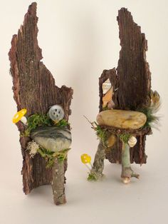 Faerie King and Queen Chairs, Faerie Chairs, Fairy Garden Accessory, Doll House Chairs, Faerie House. $24.00, via Etsy. #GardenChair