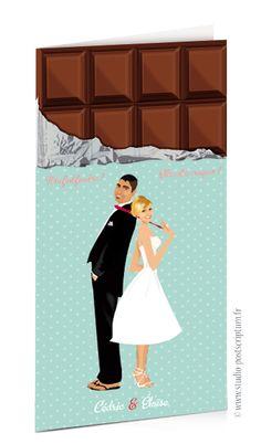 Faire-part de mariage original romantique gourmand vintage tablette chocolat vert tendre vintage à pois – gourmandise chic – candy bar - sweet wedding invitation card save the date © www.studio-postscriptum.fr