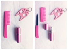 stayin' cute but deadly at all times- comb knife, pepper spray and stabby keyring