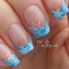 Nail art, snowflakes, French manicure