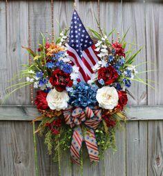 Rustic Patriotic American Flag Wreath, XXL by IrishGirlsWreaths, $159.99