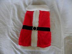 dog cat clothing apparel coat Santa red new velcro m #5thAvenue #coat