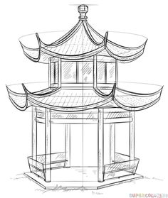 How to draw how the Chinese Pagoda step by step. Drawing tutorials for kids and … How to draw the Chinese Pagoda step by step. Drawing tutorials for children and beginners. Chinese Buildings, Chinese Architecture, Architecture Drawings, Landscape Architecture, Landscape Drawings, Drawing Tutorials For Kids, Drawing For Beginners, Art Tutorials, Beginner Drawing