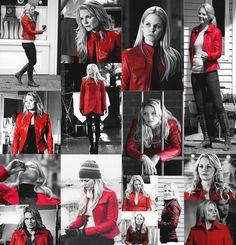 She wil always wear a red coat/jacket