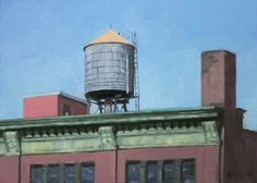 """Ski Holm, """"Chelsea Water Tower,"""" 5x7, oil on board -- at Principle Gallery"""