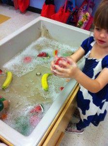 Washing garden foods in preschool