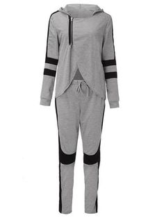 Sexy Gray Black Patchwork Zipper Split Hood Women Tracksuit Sportsuit at Banggood Sport Outfits, Cute Outfits, Casual Suit, Pants For Women, Clothes For Women, Classic Style Women, Womens Fashion Online, Fitness Fashion, Lounge Wear