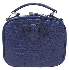 Authentic M Crocodile Skin Womens Hornback Leather Purse Tote Bag Double Round Zippers W/Strap Handbag