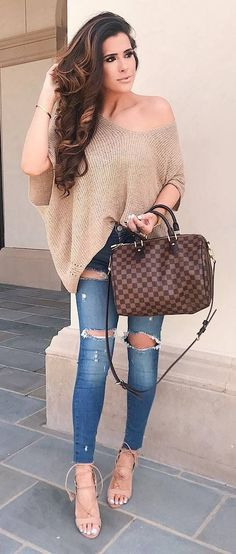 amazing outfit idea nude one shoulder sweater   bag   ripped jeans + heels