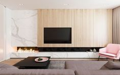 The design for this 107 sq m home in Moscow, Russia, was visualised by Design Rocks with functional minimalism in mind. Keeping only what was deemed to be usefu minimal Functional Minimalist Home With Brave Colours & Bespoke Installations Living Room Tv Unit, Living Room Interior, Home Living Room, Living Room Designs, Fireplace Tv Wall, Modern Fireplace, Fireplace Design, Fireplace Ideas, Futuristisches Design