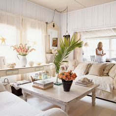 Peaceful and Surreal - Romantic Rooms - Coastal Living Peaceful and Surreal Fresh accents such as pink roses and palm fronds lend color and elegance to a soft and neutral space. Sheer curtains let in just the right amount of light.