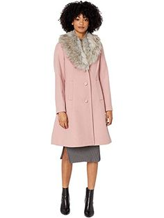 Kate Spade New York Single Breasted Faux Fur Collar Wool Coat Women's Clothing Soft Peony Faux Fur Collar, Faux Fur Jacket, Fur Collars, Suede Coat, Wool Coat, Satin Duster, Dresses For Work, Dresses With Sleeves, Denim Jumpsuit