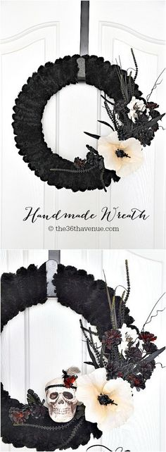DIY Skull Halloween Wreath.