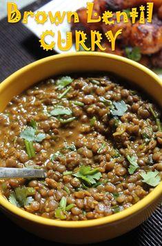 Whole Masoor Dal Recipe / Brown Lentil Curry Recipe / Sabut Masoor Dal Recipe - Yummy Tummy Brown Lentil Soup, Lentil Dishes, Brown Lentils, Lentil Curry, Lentil Dal Recipe, Dhal Recipe, Daal Recipe Indian, Lentil Recipes Indian, Soups