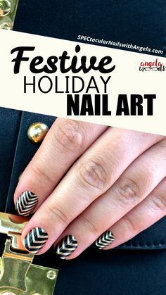 Extend fashion to your fingertips with Color Street! These salon quality nail coverings add instant glamour to any outfit. Channel an art deco look to ring in the new year with the bold stripes and chevrons of black and gold Drop the Ball nail art! Get quick stylish nails in minutes with Color Streets fall nail inspiration that fit for any style or occasion. #fchristmasnaildesign #colorstreetnails #prettynailartdesign Holiday Fashion, Holiday Outfits, Holiday Nail Art, Nail Polish Strips, Color Street Nails, Bold Stripes, Nail Bar, Stylish Nails, Fabulous Nails
