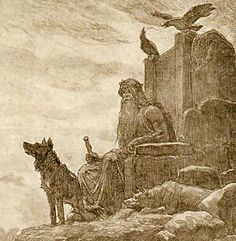 Odins two wolves Gere and Freke. Hugin and Munin Odins ravens.