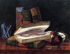 Still Life with Books and Spectacles (also known as Open Book with Spectacles) (c.1890-1899). Claude Raguet Hirst (born Claudine, American, 1855–1942). Watercolor.During the mid-1890's Hirst's focus shifted to still lifes in which antique volumes were prominently featured, reflecting the concurrent vogue for rare book collecting. In these detailed paintings, Hirst was able to render the entire text of a page legibly or replicate an engraving from a book.